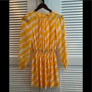 Yellow and white striped long sleeve dress